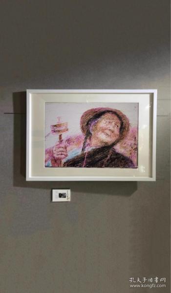 《转经老人》腊笔画2002年,腊笔,圆珠笔画,周振熠作。