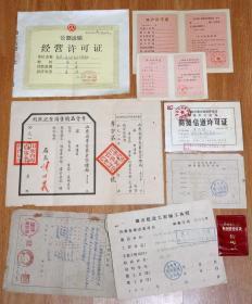 老票证:《老营业执照、许可证》8张(50年代、60年代、80年代).