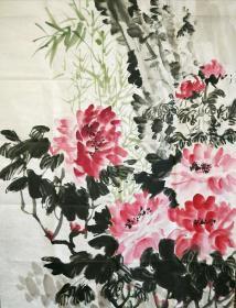 郑正早期作品牡丹国色国香萧龙士弟子外甥
