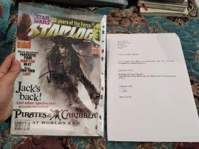 【签名本】著名演员 约翰尼·德普 签名Starlog杂志,封面为其代表作之一《加勒比海盗》,附证书