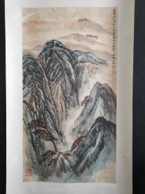著名画家 何海霞山水一幅,卷轴,老装老裱,尺寸44*80厘米,保真!