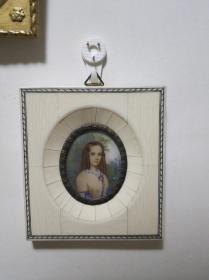 欧洲古董美女手绘画