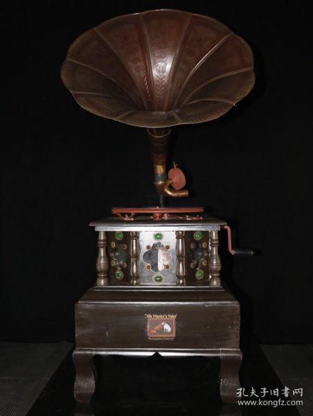 珍藏回流实木镶嵌宝石台式手摇老式留声机  可正常使用 高1米长45厘米宽45厘米 喇叭直径48厘米