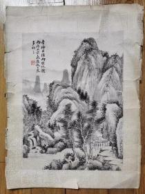 清 子法《山水画》镜片、尺寸:28x20.8厘米。