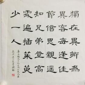 手写书法精品 诗一首 九月九日忆山东兄弟 隶书 50cm