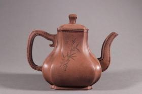 旧藏:时大彬款·竹纹紫砂壶