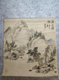 日本回流老山水画水墨小品