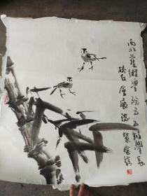王金岭  花鸟画 旧托 68x68