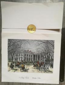 美国前总统和第一夫人(1977-1981)、2002年诺贝尔和平奖获得者、佐治亚州州长(1970-1974)、中美建交的当事人和见证者、美中关系卓越领袖奖、联合国人权奖得主、美国最长寿的总统、吉米·卡特(Jimmy Carter)和罗莎琳·卡特(Rosalynn Carter)、亲笔签名、官方限量版定做、精美超大绘画照1张、来自白宫、加盖有白宫钢印、附有官方大信套1个、做工非常精致(珍贵、罕见)