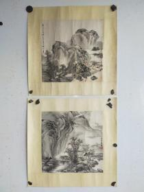 徐邦达 山水画两幅 镜心旧裱  画面有损 每幅尺寸32x32
