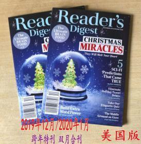 美国版 READER'S DIGEST 读者文摘2019年12月/2020年1月跨年合刊 英文杂志