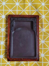 精品端砚台 有翡翠石品好  配红木盒6寸,有收藏证书