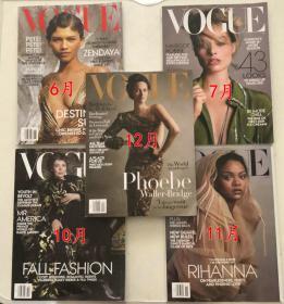 美国版vogue2019年6 7 10 11 12月 5本打包女性时尚服饰英文杂志