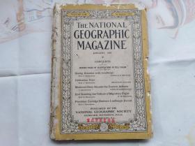民国外文原版:美国国家地理杂志 THE NATIONAL GEOGRAPHIC MAGAZINE 1928年1月。大量彩图和黑白照片。和林德柏格一起看美国、亚得里亚海东部、鸟带迁徙飞行等。边缘有虫蛀如图