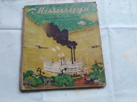 大开本硬精装外文原版彩色儿童文学类似连环画: 米西西比河,即密西西比河流域的故事。盖国立罗斯福图书馆藏章。用回形针夹一张国立罗斯福图书馆藏书票。民国藏书票极少见