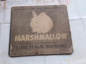 大开本硬精装外文原版彩色儿童文学类似连环画: MARSHMALLOW。盖国立罗斯福图书馆藏章。封面下方有个1817,不知道是不是出版时间.回形针夹一张国立罗斯福图书馆藏书票。毛笔手写:马息马庐 一个兔子和猫子如何做朋友的故事。