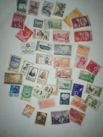 邮票,新中国成立初期发行纪特邮票包括几张特殊邮票,全是珍藏品,没有破损,43张,4.8一张,150走