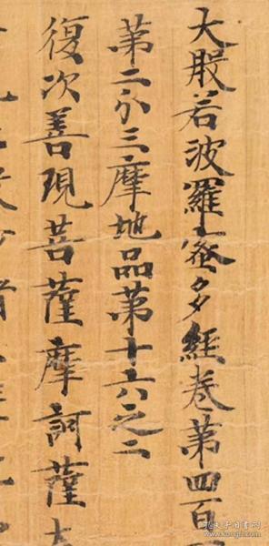 敦煌遗书 大英博物馆 S6745莫高窟 大般若波罗蜜多经卷第四百一十四。纸本大小28*88厘米。宣纸原色微喷印制