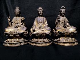 三圣铜佛像 高约20cm,宽约11cm重约4.95千克