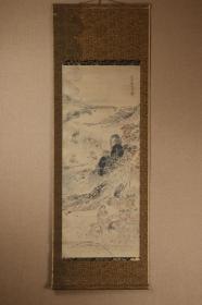 回流字画 日本最早的文人画家 文学史中徘谐诗的巨匠 巨匠与谢芜村(1716-1783春星、白云堂 夜半等)《秋收图》纸本 木箱  清代 民国 现代 当代 老画 日本回流字画 日本回流书画