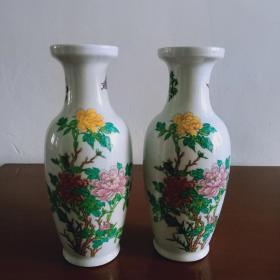 景德镇产【国画牡丹.书法】瓷花瓶一对