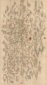 0067古地图1855-1871清咸丰同治年间甘肃舆图。彩绘本,地方行政区图。纸本大小117.79*210.77厘米。宣纸原色仿真。