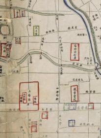古地图1875清光绪元年上海县城厢租界全图。纸本大小52.32*89.15厘米。宣纸原色仿真。