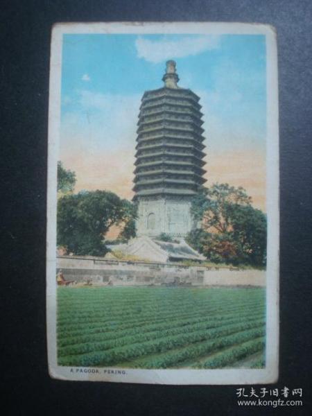 清代明信片北京;A PAGODA PEKING北京宝塔,好像是天宁寺塔