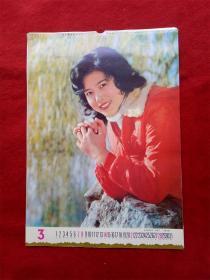 怀旧收藏年挂历单张八十年代《电影演员邵慧芳  》54*37cm