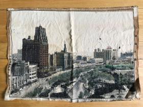 """70年代杭州织锦厂制""""上海南京路""""建筑群路段,丝织品,尺寸:38x52厘米。"""
