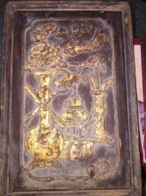 潮州金漆木雕,老梳妆盒,带抽屉,变形后带镜子