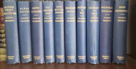 1900年查尔斯·狄更斯豪华精装纪念版全集19册全 Charles Dickens  Memorial Edition(英文原版,布面精装,毛边,整套书中有好几百幅精美单独插页版画插图 )
