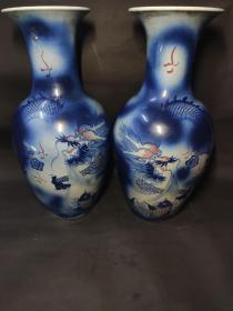 蓝釉大花瓶一对