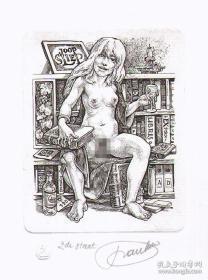 戴莫——饮酒版画藏书票原作