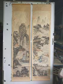 约民国时期  人物老画两幅 原装旧裱 应为其中两条屏 无款 有印 每幅尺寸130x32