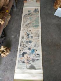 徐悲鸿 大尺寸 人物老画 立轴原装旧裱  裱头很旧 尺寸177x46