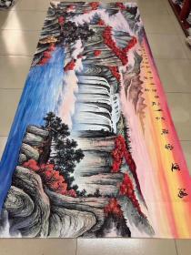 中国书画创作中心一级美术师曾松涛老师大丈二【鸿运当头】360*145厘米可于老师合影提供收藏证书