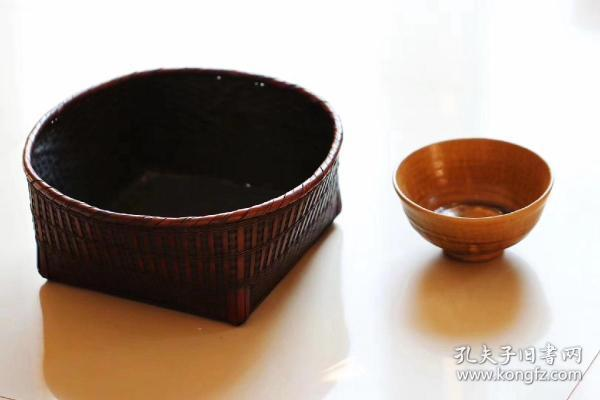 日本老竹碳籠,細工竹編,歷史包漿,送茶碗!