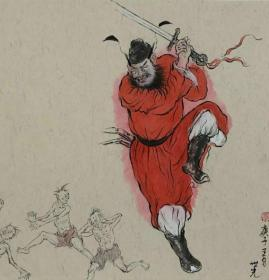 青年新锐油画家疫情其创作国画小品《钟馗系列》8、38x38cm 作品成交记录雅昌拍卖可查