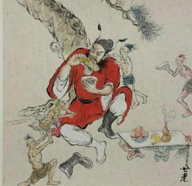 青年新锐油画家疫情其创作国画小品《钟馗系列》12、38x38cm 作品成交记录雅昌拍卖可查
