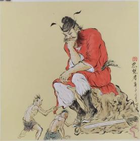青年新锐油画家疫情其创作国画小品《钟馗系列》13、38x38cm 作品成交记录雅昌拍卖可查
