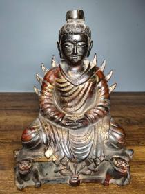 旧藏老铜胎泥金开光撒朱砂佛像 圣像佛一尊  恭请供奉佛像摆件 特价不议价