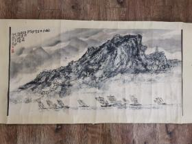 徐州著名画家 宋徳安先生 国画山水 老装老裱,保真,尺寸100x50厘米!