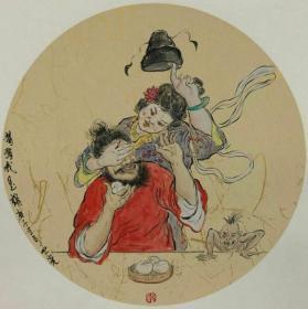 青年新锐油画家疫情其创作国画小品《钟馗系列》3、38x38cm 作品成交记录雅昌拍卖可查