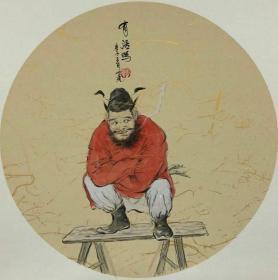 青年新锐油画家疫情其创作国画小品《钟馗系列》5、38x38cm 作品成交记录雅昌拍卖可查