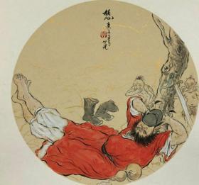 青年新锐油画家疫情其创作国画小品《钟馗系列》10、38x38cm 作品成交记录雅昌拍卖可查