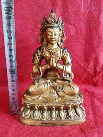 古董古玩铜器明代鎏金紫铜佛像