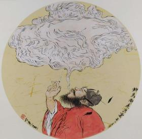 青年新锐油画家疫情其创作国画小品《钟馗系列》9、38x38cm 作品成交记录雅昌拍卖可查