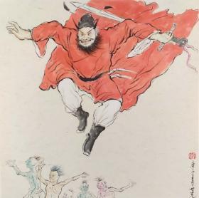 青年新锐油画家疫情其创作国画小品《钟馗系列》16、38x38cm 作品成交记录雅昌拍卖可查