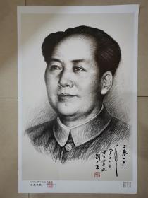 人民币毛主席创作者,。人民币同款,刘文西院长签名版主席像,签名是手写,章是盖上的,。,,,